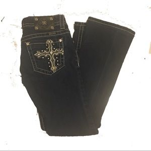 Miss Me Jeans Bootcut 27 x 29 Dark Wash Cross